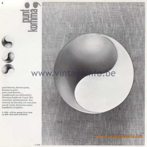 Raak Amsterdam Light Catalogue 8 - 1968 - C-1636 Wall Lamp Punt Komma (point comma) Design Hermien Sneyders de Vogel