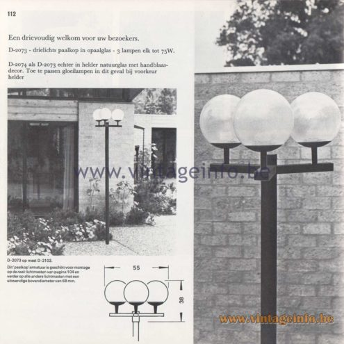 Raak Amsterdam Light Catalogue 8 - 1968 - Raak Outdoor Lighting D-2073, D-2074 - Paalkop - Pile head