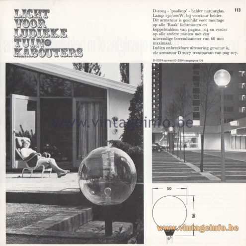 Raak Amsterdam Light Catalogue 8 - 1968 - Raak Outdoor Lighting D-2024 - Paalkop - Pile head