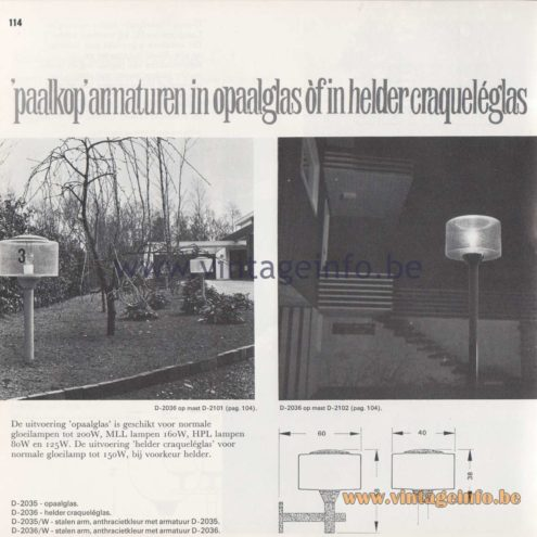 Raak Amsterdam Light Catalogue 8 - 1968 - Raak Outdoor Lighting D-2035, D-2036 - Paalkop - Pile head