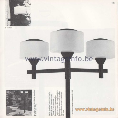 Raak Amsterdam Light Catalogue 8 - 1968 - Raak Outdoor Lighting D-2035 - Paalkop - Pile head