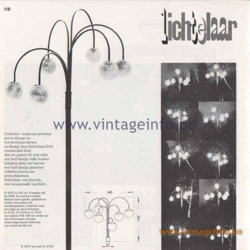 Raak Amsterdam Light Catalogue 8 - 1968 - Raak Garden/Outdoor Lamp D-2013 - Lichtelaar - Light tree