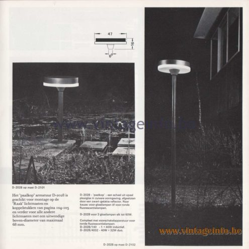 Raak Amsterdam Light Catalogue 8 - 1968 - Raak Garden/Outdoor Lamp D-2028 Paalkop – Pile head