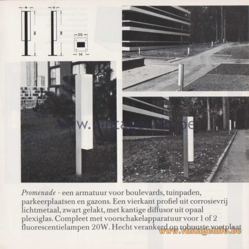 Raak Amsterdam Light Catalogue 8 - 1968 - Raak Garden/Outdoor Lamp F-3001/120, 121, 220, 221