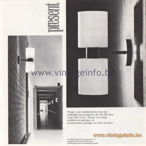 Raak Amsterdam Light Catalogue 8 - 1968 - C-1600 Wall Lamp Present