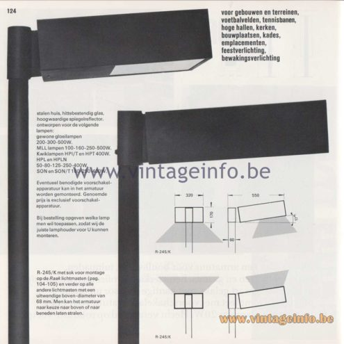 Raak Amsterdam Light Catalogue 8 - 1968 - Raak Garden/Outdoor Lamp R-245/K, W, P