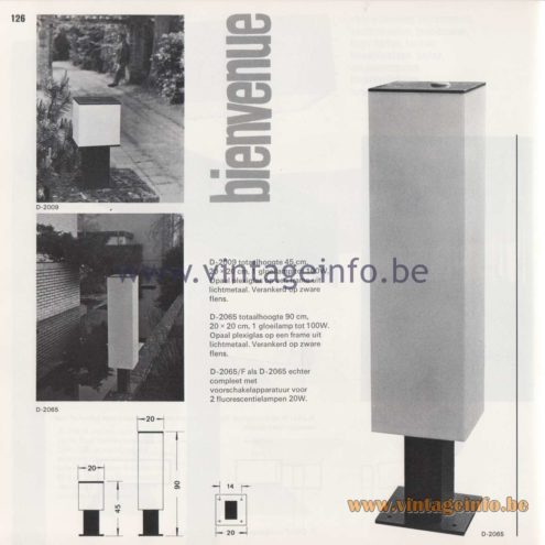 Raak Amsterdam Light Catalogue 8 - 1968 - Raak Garden/Outdoor Lamp D-2009, D-2065 D-2065/F - Bienvenue - Welcome
