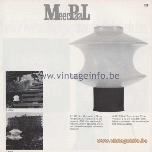 Raak Amsterdam Light Catalogue 8 - 1968 - Raak Garden/Outdoor Lamp C-1616/M, C-1617/M - Meerpaal - Bollard