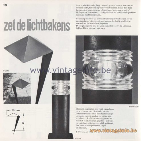 Raak Amsterdam Light Catalogue 8 - 1968 - Raak Garden/Outdoor Lamp D-2014, D-2010 - Zet de lichtbakens - Turn on the light beacons