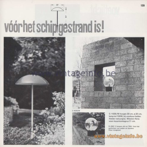 Raak Amsterdam Light Catalogue 8 - 1968 - Raak Garden/Outdoor Lamps C-1635/M, D-2061 - Vóór het schip gestrand is! - Before the ship is stranded!
