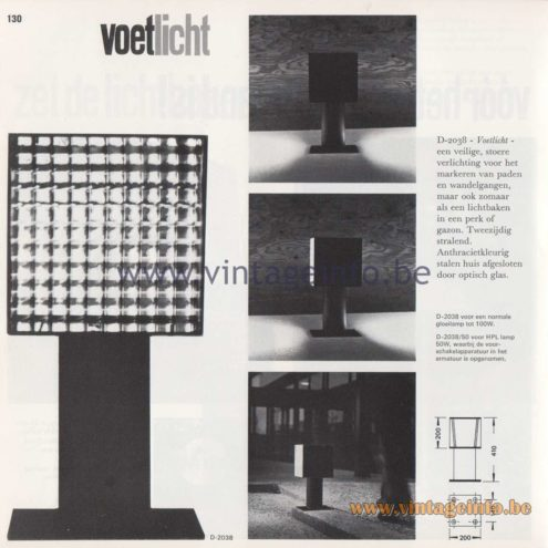 Raak Amsterdam Light Catalogue 8 - 1968 - Raak Garden/Outdoor Lamps D-2038, D-2038/50 - Voetlicht - Footlight
