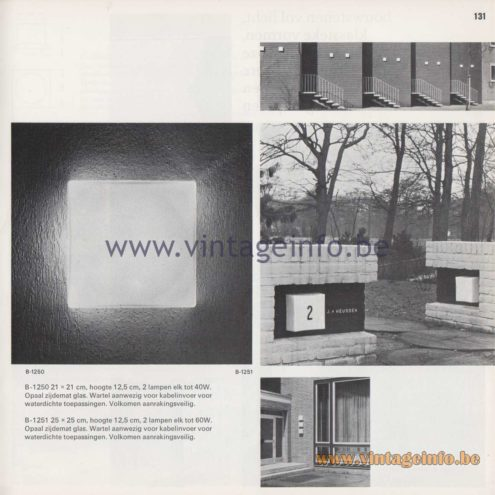 Raak Amsterdam Light Catalogue 8 - 1968 - Raak Garden/Outdoor Lamps B-1250, B-1251 - Bouwstenen - Building Blocks