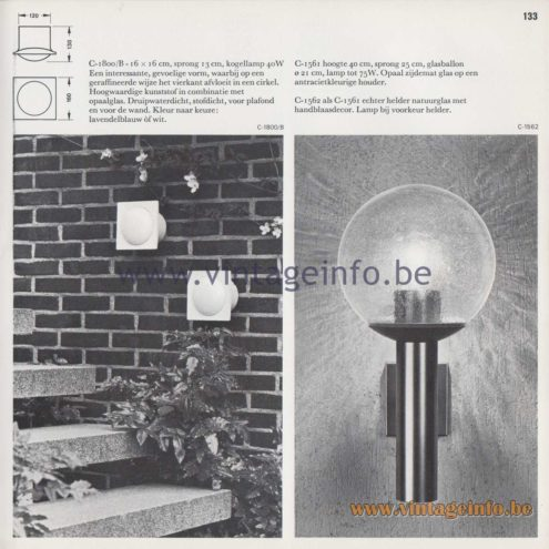 Raak Amsterdam Light Catalogue 8 - 1968 - Raak Garden/Outdoor Lamps C-1800/B, C-1561, C-1562