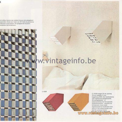 Raak Amsterdam Light Catalogue 8 - 1968 - C-1538 Wall Lamp