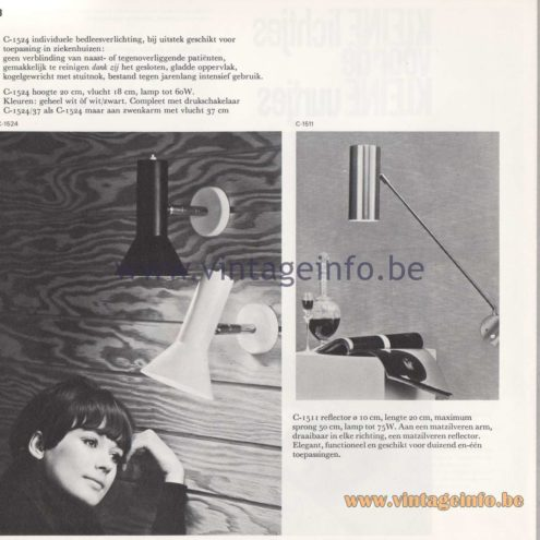 Raak Amsterdam Light Catalogue 8 - 1968 - Raak C-1524 and C-1511 Wall Lamps