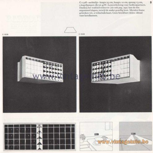 Raak Amsterdam Light Catalogue 8 - 1968 - Raak C-1508 Wall Lamp