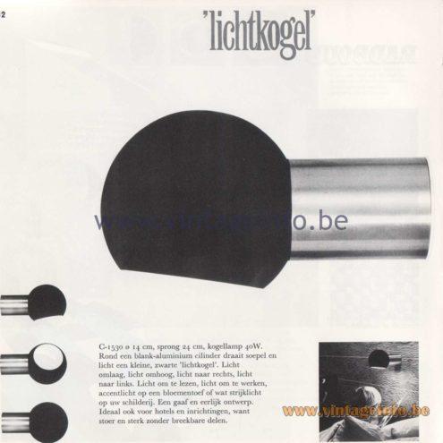 Raak Amsterdam Light Catalogue 8 - 1968 - Raak C-1530 Wall Lamp Lichtkogel