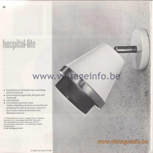 Raak Amsterdam Light Catalogue 8 - 1968 - C-1520 Wall Lamp hospital-lite