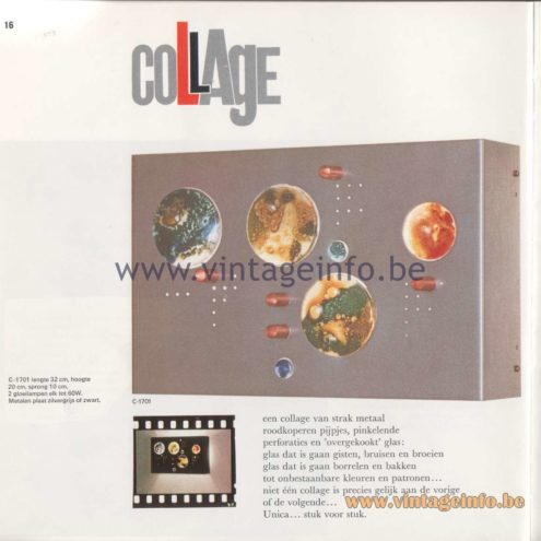Raak Amsterdam Light Catalogue 8 - 1968 - Wall Lamp C-1701 - Collage