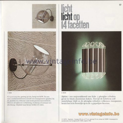 Raak Amsterdam Light Catalogue 8 - 1968 - Wall Lamps C-1512 and C-1670 Septiem (seventh)