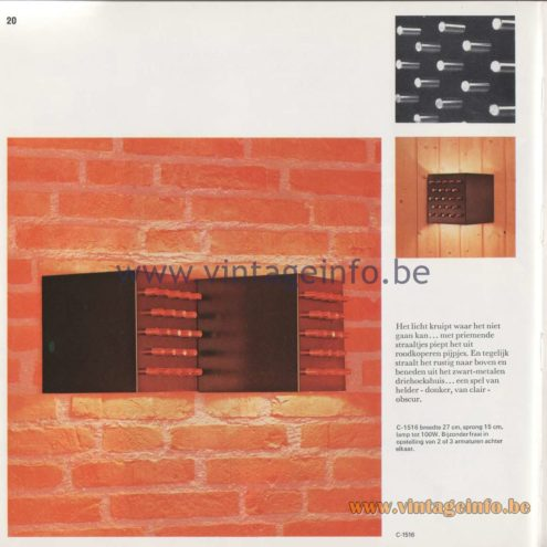Raak Amsterdam Light Catalogue 8 - 1968 - Wall Lamps C-1516 Clair Obscur