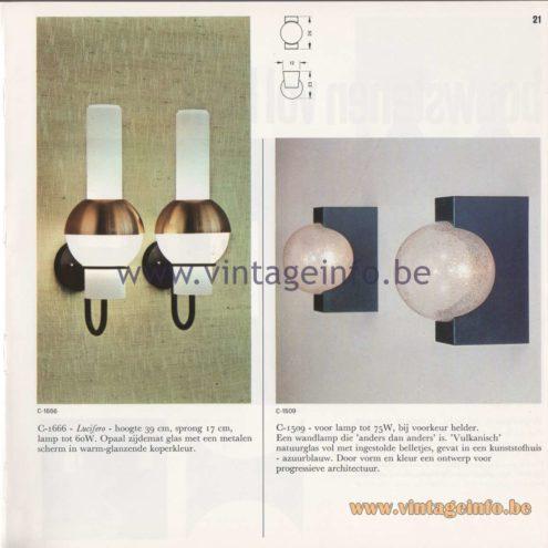 Raak Amsterdam Light Catalogue 8 - 1968 - Wall Lamps C-1666 - Lucifero and C-1509
