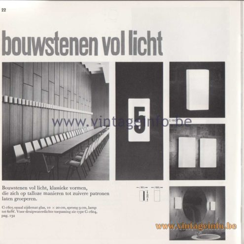 Raak Amsterdam Light Catalogue 8 - 1968 - Raak Wall Lamps Bouwstenen C-1605, C-1604