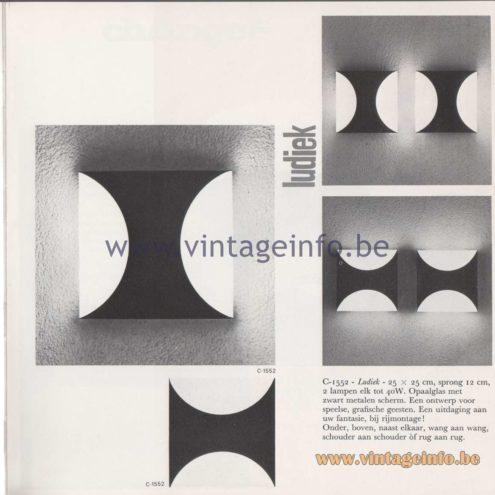 Raak Amsterdam Light Catalogue 8 - 1968 - Raak Wall Lamps Ludiek C-1552