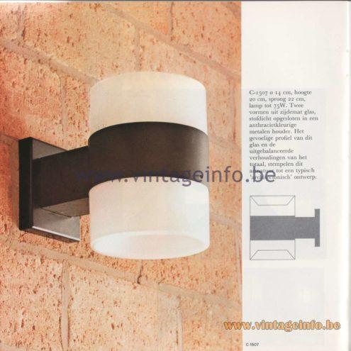 Raak Amsterdam Light Catalogue 8 - 1968 - Raak Wall Lamp C-1507