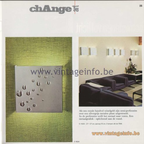 Raak Amsterdam Light Catalogue 8 - 1968 - Raak Wall Lamps C-1624 Change Art
