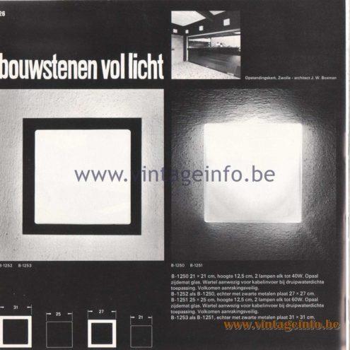 Raak Amsterdam Light Catalogue 8 - 1968 - bouwstenen vol licht - building blocks full of light - Wall Lamps B-1250, B-1251, B-1252, B-1253