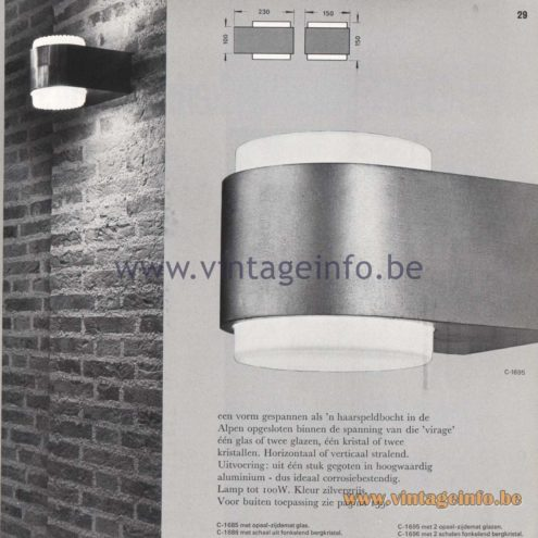 Raak Amsterdam Light Catalogue 8 - 1968 - Raak Wall Lamp Virage C-1685, C-1686, C-1695, C-1696