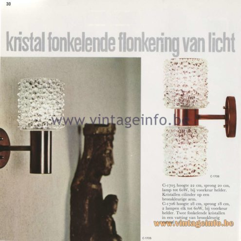 Raak Amsterdam Light Catalogue 8 - 1968 - Wall Lamps C-1705, C-1706 - kristal fonkelende flonkering van licht - crystal sparkling flickering of light