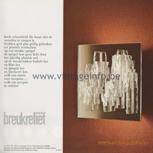 Raak Amsterdam Light Catalogue 8 - 1968 - Wall Lamps C-1517 - Breukreliëf - Fracture relief