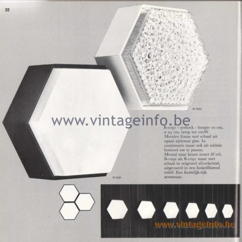 Raak Amsterdam Light Catalogue 8 - 1968 - Wall Lamps B-1091, B-1092 Zeskhoek - Hexagon