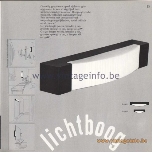 Raak Amsterdam Light Catalogue 8 - 1968 - Wall Lamps C-1500, C-1501 - Lichtboog - Lightbow