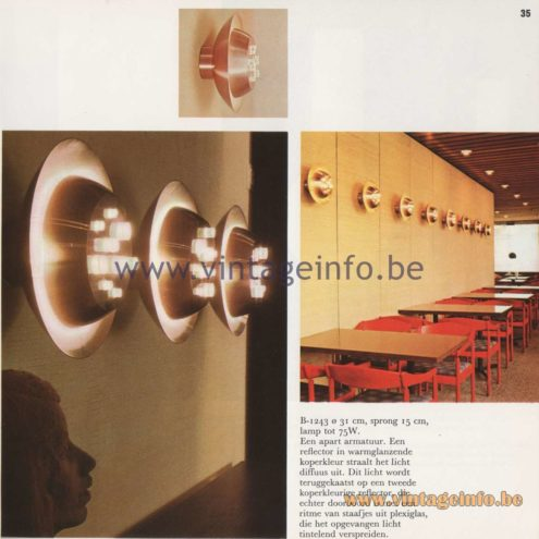 Raak Amsterdam Light Catalogue 8 - 1968 - Raak B-1243 Wall Lamp