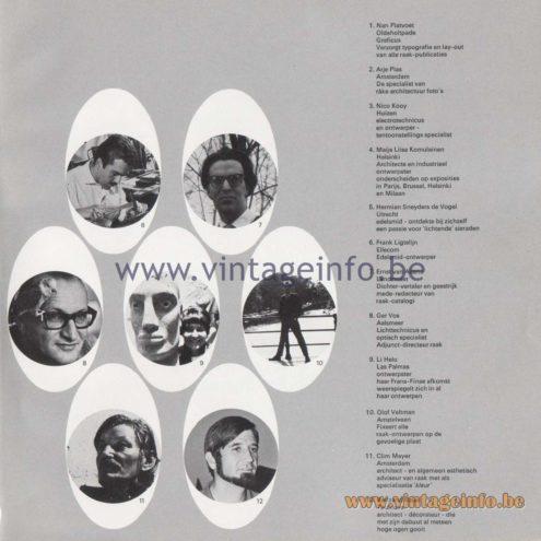 Raak Amsterdam Light Catalogue 8 - 1968 - designers