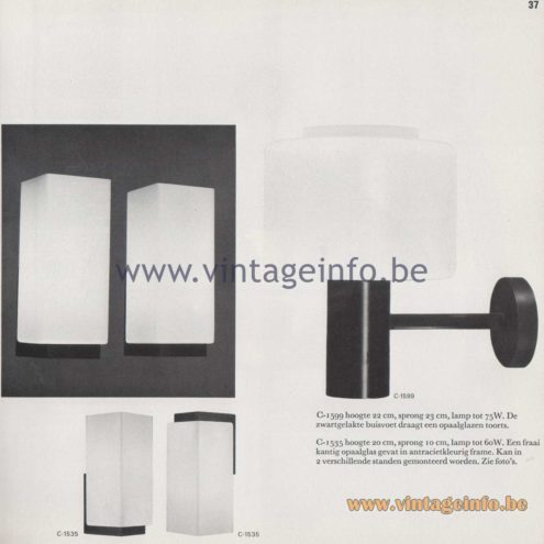 Raak Amsterdam Light Catalogue 8 - 1968 - Raak Wall Lamps C-1590, C-1535