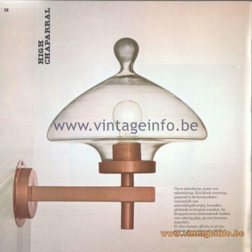 Raak Amsterdam Light Catalogue 8 - 1968 - Raak Wall Lamp C-1622 - High Chaperal