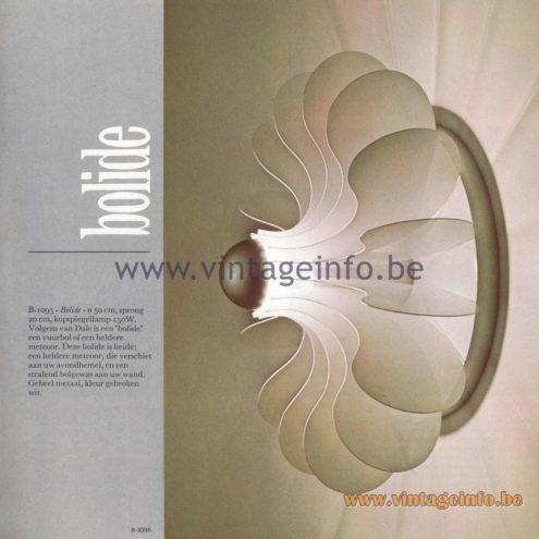 Raak Amsterdam Light Catalogue 8 - 1968 - Raak Wall Lamp B-1095 - Bolide
