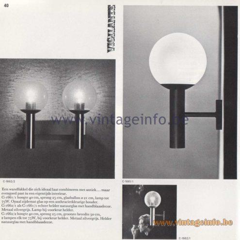 Raak Amsterdam Light Catalogue 8 - 1968 - Raak Wall Lamps C-1661, C-1662 - Vigliante