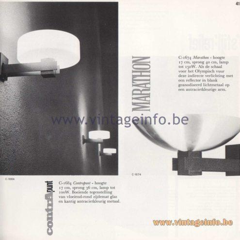 Raak Amsterdam Light Catalogue 8 - 1968 - Raak Wall Lamps C-1684, C-1674 - Contrapunt, Marathon