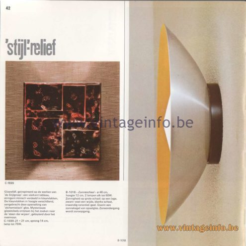 Raak Amsterdam Light Catalogue 8 - 1968 - Raak Wall Lamps C-1699 - 'Stijl'reliëf (Style relief) and B-1018 Zonneschaal (Sun scale)