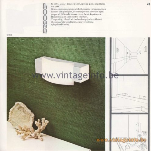 Raak Amsterdam Light Catalogue 8 - 1968 - Raak Wall Lamp C-1675 - Skoop