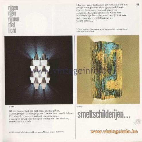 Raak Amsterdam Light Catalogue 8 - 1968 - Raak Wall Lamp C-1655 and C-1649 Chartres. Design Willen van Oyen Sr.