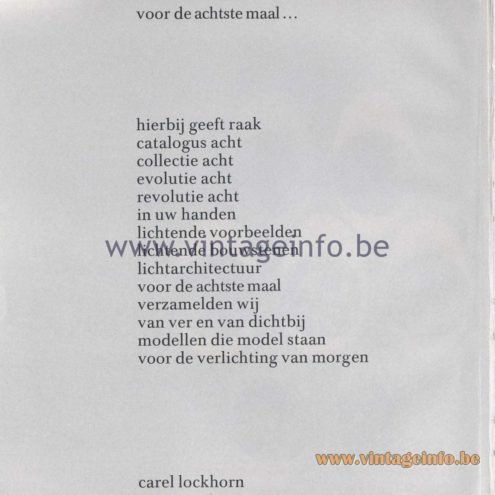 Raak Amsterdam Light Catalogue 8 - 1968 - poem by Carel O. Lockhorn, president of the company