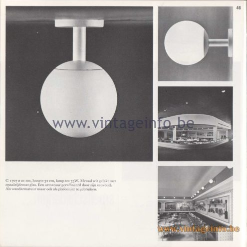 Raak Amsterdam Light Catalogue 8 - 1968 - Raak C1707 Wall Lamp or Flush Mount