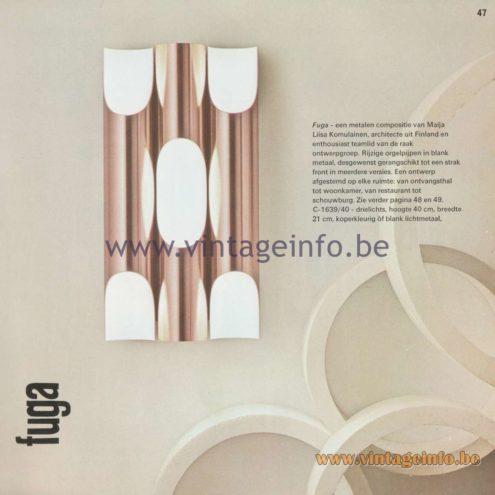 Raak Amsterdam Light Catalogue 8 - Raak Wall Lamp Fuga C-1639/40 - Design Maija Liisa Komulainen