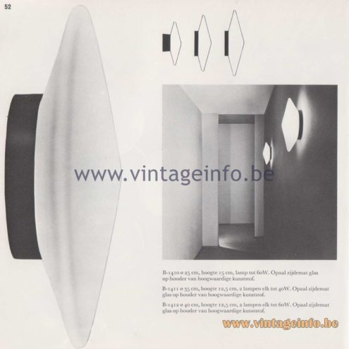Raak Amsterdam Light Catalogue 8 - Raak Wall Lamp or Flush Mount Discus B-1410, B-1411, B-1412